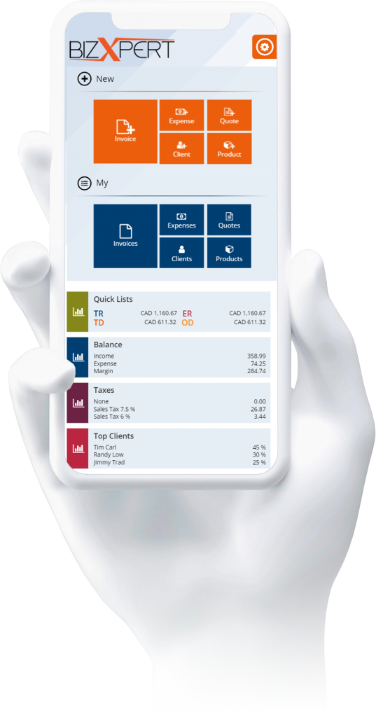 bizxpert simple invoice and inventory software on mobile - best free invoice app for andoid