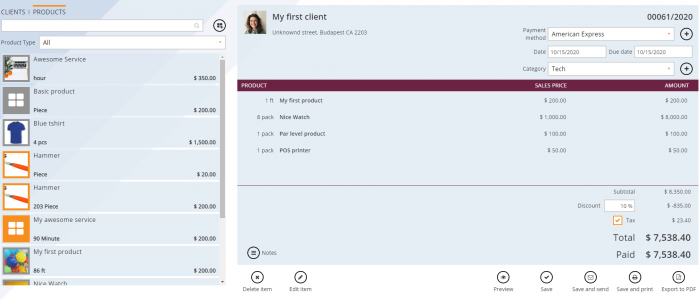 Create invoice page invoice and inventory software
