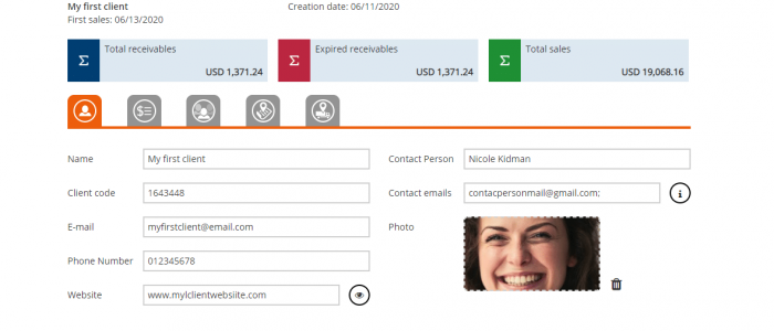 Client settings invoice and inventory software